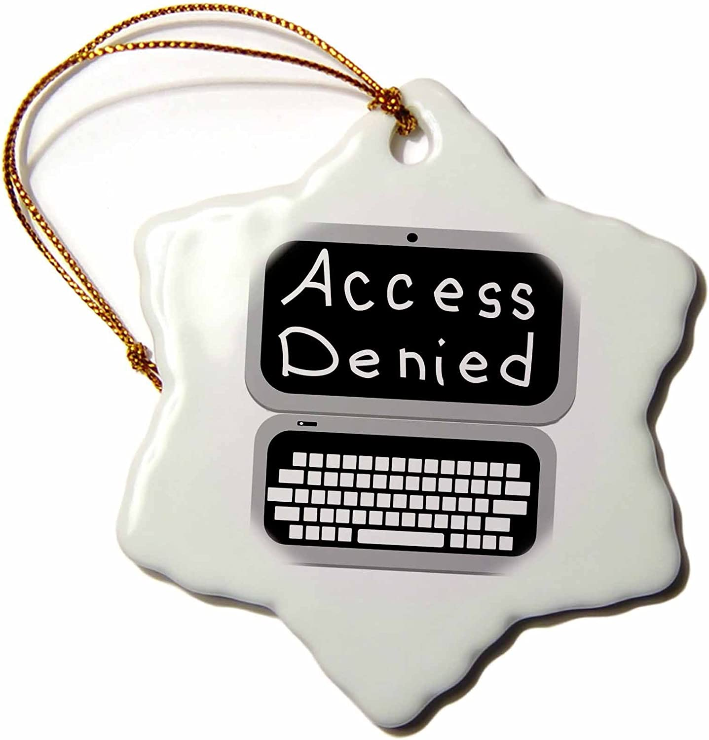 3dRose Fun Grey Laptop Computer Technician Nerd Geek Humor - Access Denied Snowflake Ornament