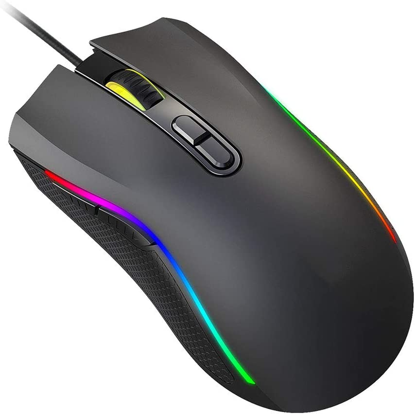 7200 DPI Adjustable 7 Programmable Buttons RGB Backlit WANGJIANGLI Gaming Mouse Wired Comfortable Grip Ergonomic Optical PC Computer Gaming Mice