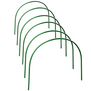 GREENWISH 6-Pack Greenhouse Hoops, 4ft Long Steel with Plastic Coated Hoops, Rust-Free Grow Tunnel, Support Hoops for Garden Fabric
