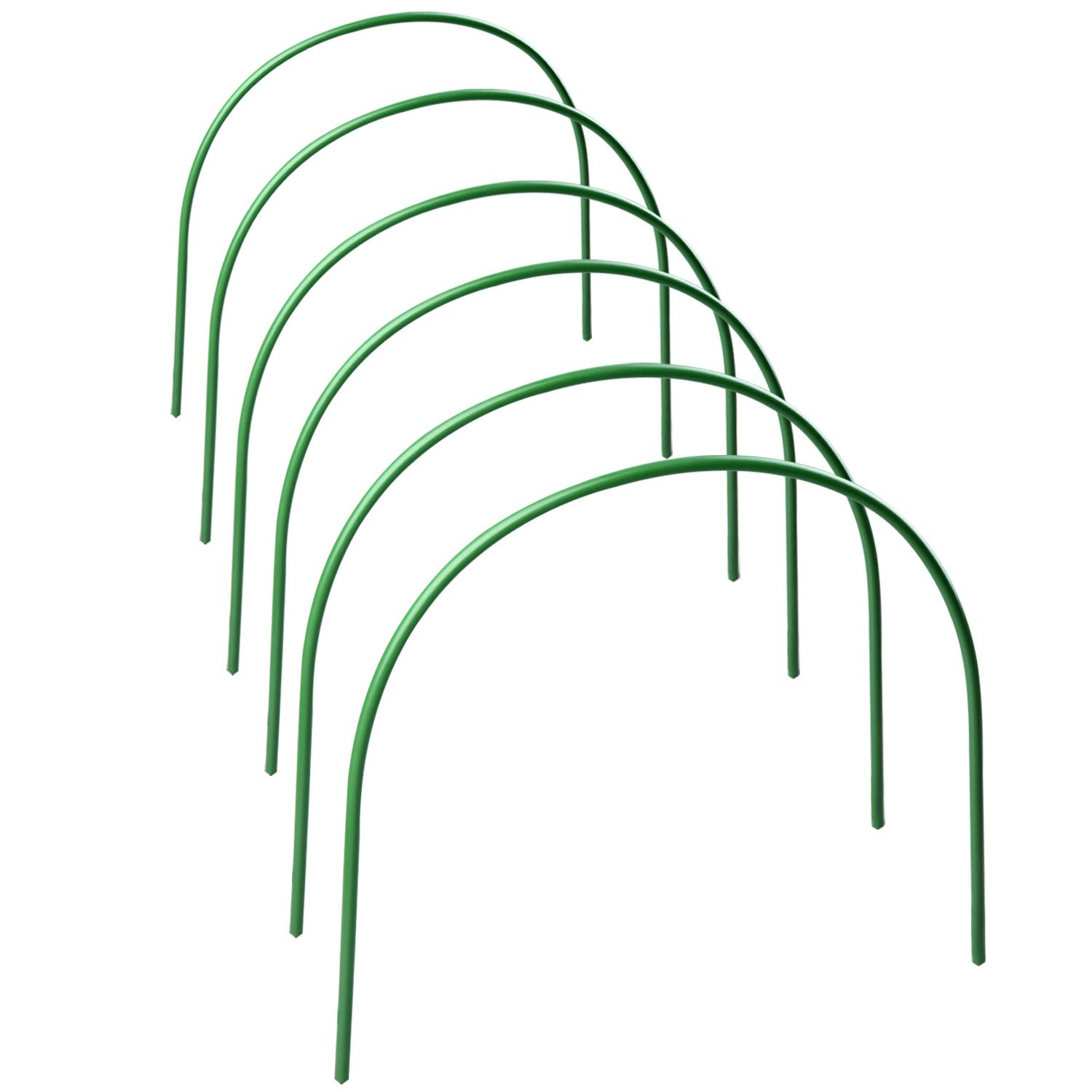 Greenhouse Hoops for Plant Cover Support, 4ft long Plastic Coated Hoops Grow Tunnel Support Frame for Garden Fabric, Set of 6