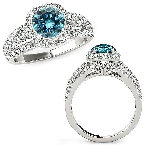 Anillo de compromiso de oro blanco de 14 quilates con diseño de diamante azul de 2,24 quilates: Jascina: Amazon.es: Joyería