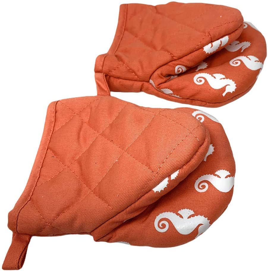 Northeast Home Goods Cotton Oven Mitt Mini Pot Gripper with Silicone Grip, Set of 2 (Peach with White Seahorses)
