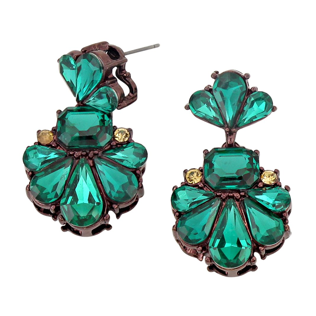 Rosemarie Collections Women's Vintage Style Statement Floral Crystal Dangle Earrings (Green)