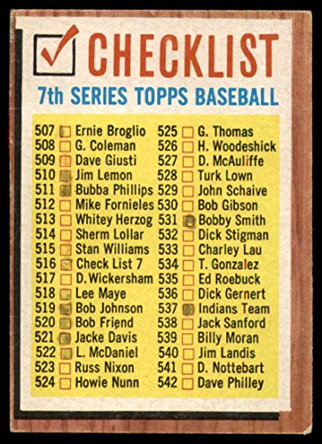 Baseball MLB 1962 Topps #516 Checklist 507-598 marked