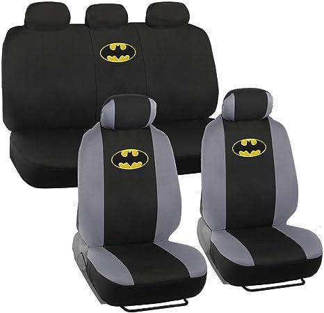 Batman Car Seat Covers - Full 9 Piece Set - Polyester Seat Protectors Black & Gray