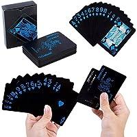 Cartas Poker Baraja Texas Naipes PVC Impermeable Resistente (Negro con Azul)