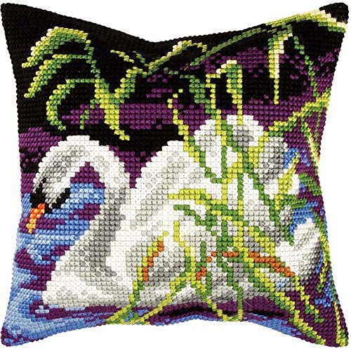 Orchidea Swan Pillow Cover Needlepoint Kit