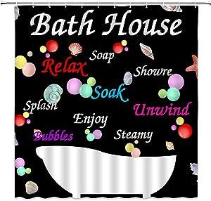 Bathroom Rules Shower Curtain Farmhouse Bath House Bubble Starfish Decor Black Cartoon Kids Bathroom Polyester Cloth Fabric Curtains for Bathroom with Hooks