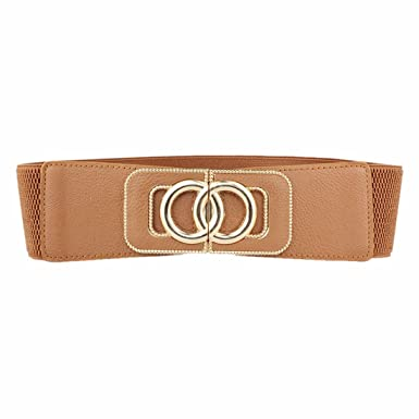 f3139d3b7 Image Unavailable. Image not available for. Colour: Womens Metal Double  Circle Buckle Faux Leather Belt Waist ...