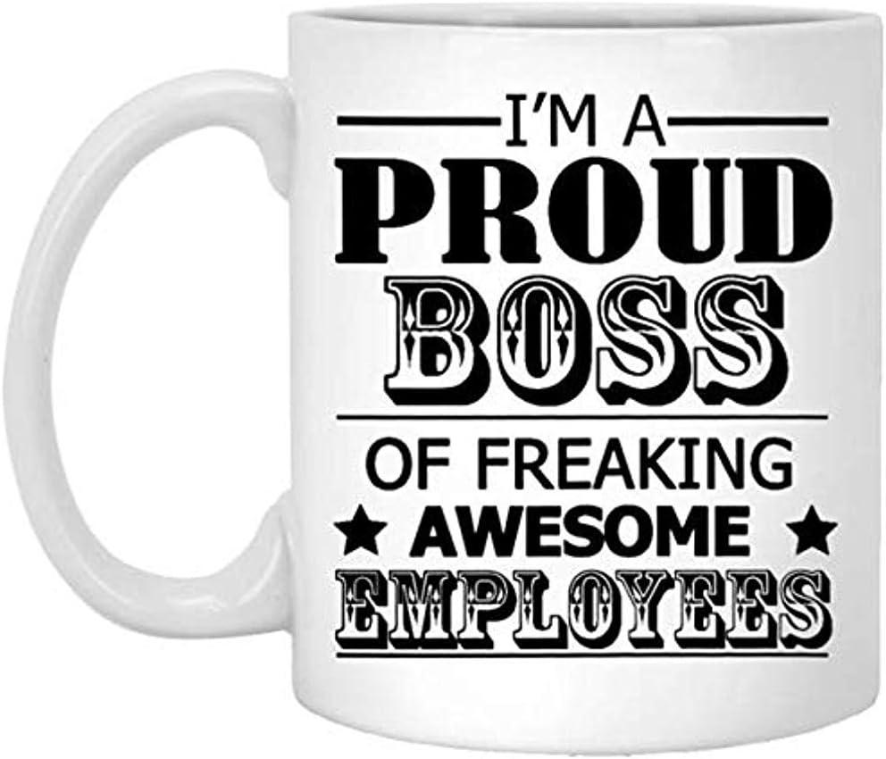 Mug Café,Soy un orgulloso jefe de la taza de empleados increíbles, taza de café divertida del jefe, regalo perfecto para el jefe de los empleados, la mejor taza de té única de 11 oz