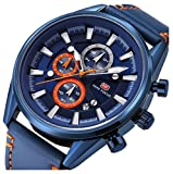 Men's Fitness Watch Men Quartz Clock 6 Hands 24Hr Date Display Leather Strap Classic Business Wristwatch (Blue)