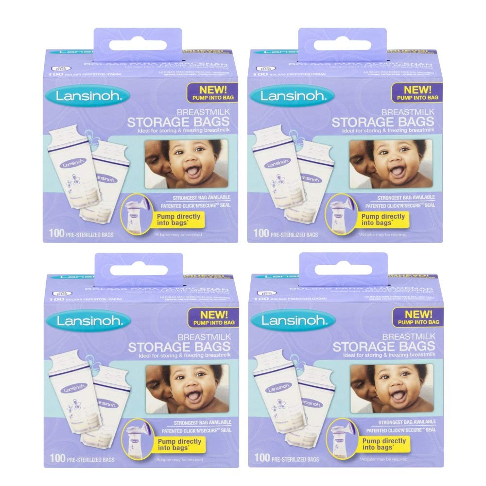 Lansinoh Breastmilk Storage Bags - 100 ct (4 Packs (100 Count))