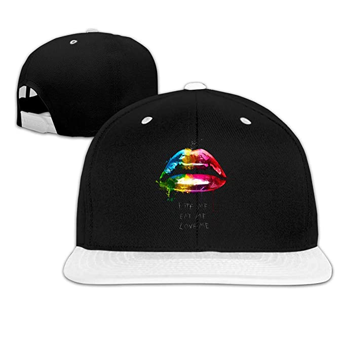 Male & Female Baseball Cap, Rainbow Lips Bite Me Eat Me Love Me ...