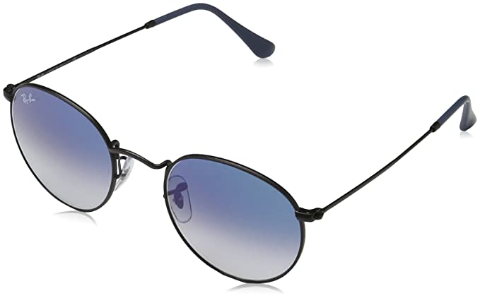 11dac6675d Ray-Ban Men s 0rb3447006 3f50round Metal Round Sunglasses Matte Black Light  Blue Gradient 50 mm  Amazon.ca  Clothing   Accessories