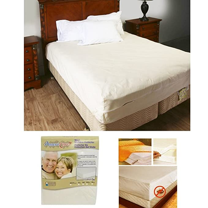 Amazon.com: Queen Size Zippered Mattress Cover Protector Dust Bug Allergy Waterproof New!: Home & Kitchen