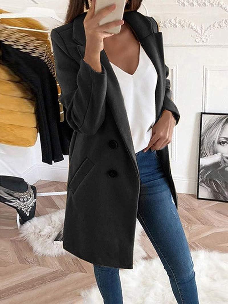 Onsoyours Longue Manteau en Laine Manches Longues Oversized Mode Femme Blouson
