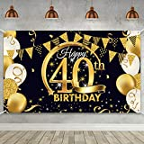 40th Birthday Party Decoration, Extra Large Fabric Black Gold Sign Poster for 40th Anniversary Photo Booth Backdrop Background Banner, 40th Birthday Party Supplies, 72.8 x 43.3 Inch (Style B)