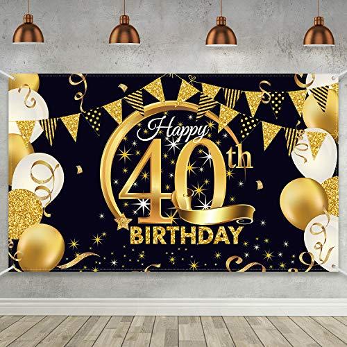 Blulu Decoración de Fiesta de 40 Cumpleaños, Tela Extra Grande Póster de Señal Dorado Negro para 40 Aniversario Fondo de Foto, Materiales de Fiesta de ...