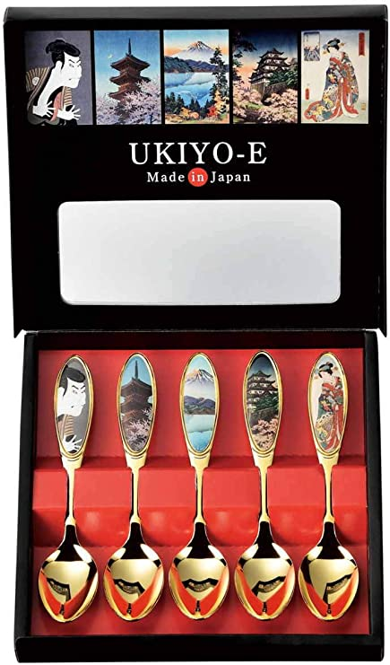 Coffee Dessert Gold Spoon 5pcs set and Unique Stylish Gifts Set of 5pcs Made in Japan Premium Stainless Steel Spoon for Tea Teaspoon Coffee Spoon Set