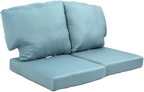 Martha Stewart Living Charlottetown Washed Blue Replacement Patio Loveseat Cushion