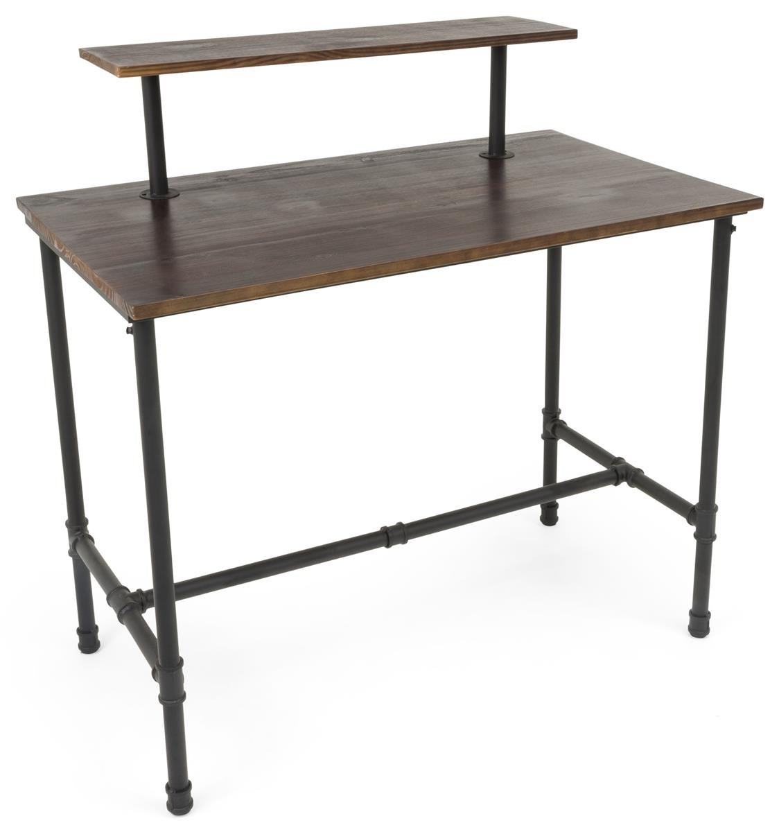 Displays2go, Pipe Display Table with Removable Shelf, Metal and Pine Wood Construction – Natural Top, Black Hardware Legs (PPLNNSTLGB)