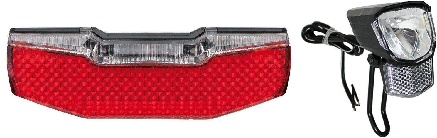LED Fahrrad-Lampen Set Nabendynamo 75 Lux Standlicht /& Rücklicht AXA BLUELINE