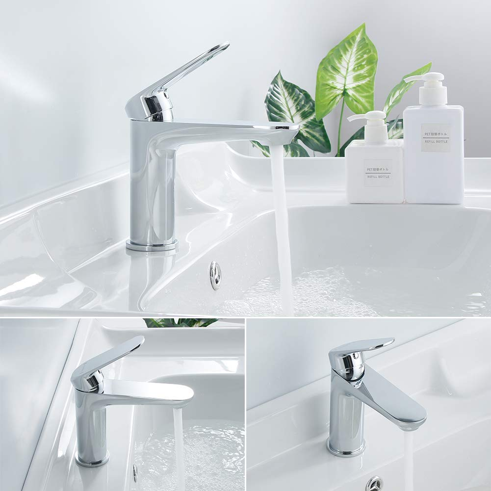 Casavilla Bathroom Sink Tap Modern Basin Mixer Tap Chrome Single Lever Washbasin Faucet Solid Brass Hot and Cold Mixer Taps