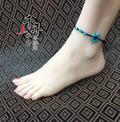 (usongs Seven array hand for opening amazonite transit natal women girls red string Foot Chain anklet fashion foot chain)