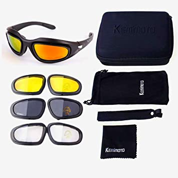 kemimoto Non-Polarized Riding glasses Motorcycle Goggles Sport Sunglasses With 4 Lens Kits
