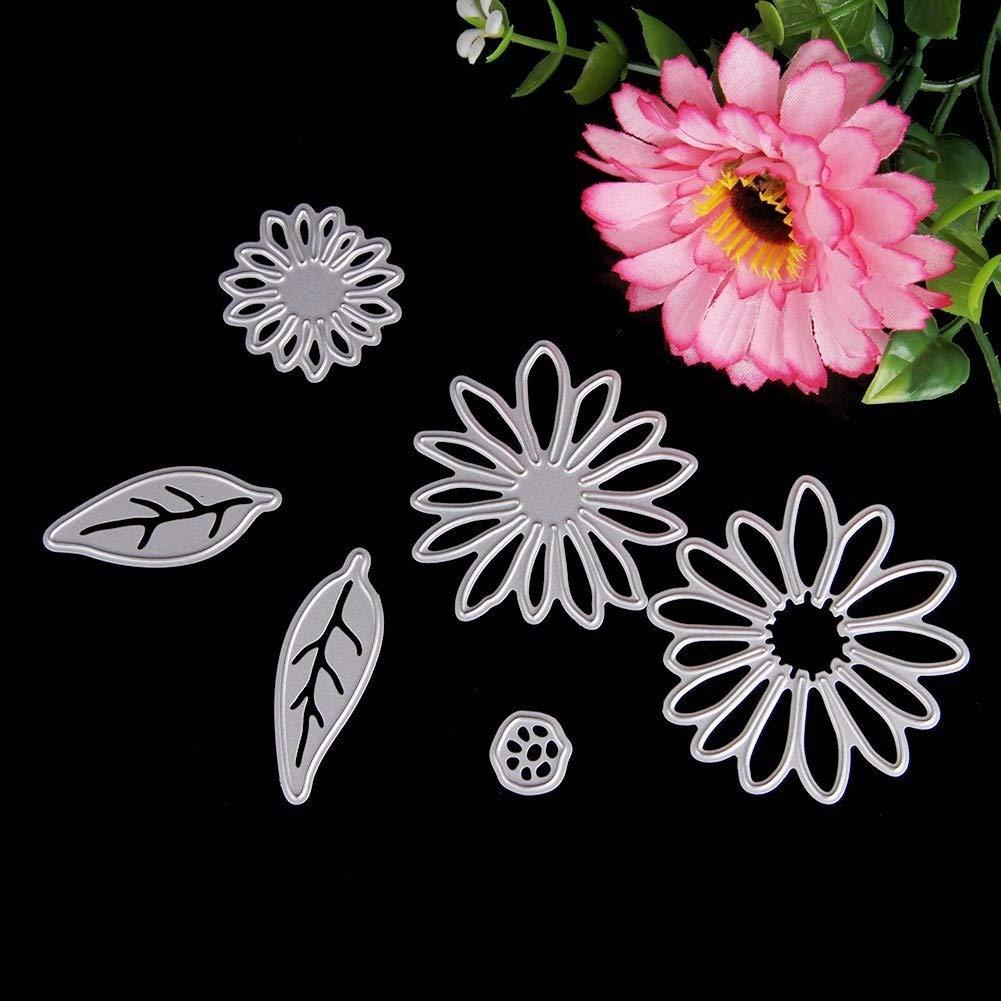 Delight eShop 6pcs Flowers Leaves Metal Cutting Dies Stencils Set For DIY Scrapbooking Photo Album Paper Card