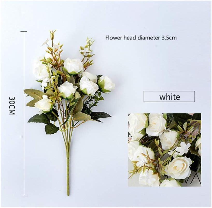 10 Cabezas/Paquete de Rosas Flores Artificiales y Flores de Seda for la decoración de la Boda y la decoración del hogar Regalo romántico del día de San Valentín (Color : White)