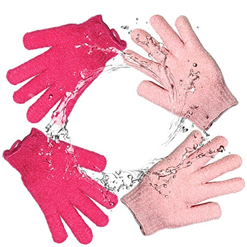 Bath Gloves Body Spa Gloves Dead Skin Cell Remover Health Care Gloves Shower Massage Scrubber, 2 Pairs (Red & Pink)
