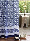 Saffron Marigold – Midnight Lotus – Blue and White Floral Asian Inspired Hand Printed – Elegant Romantic Sheer Cotton Voile Curtain Panel – Tab Top or Rod Pocket – (46 x 108) Review