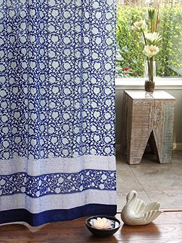 (Saffron Marigold Midnight Lotus Curtain Panel | 100% Cotton Voile | Tab Top and Rod Pocket | Hand Printed | Cobalt Blue White Asian Jacobean Floral Long Curtains Drapes 46 x 84)