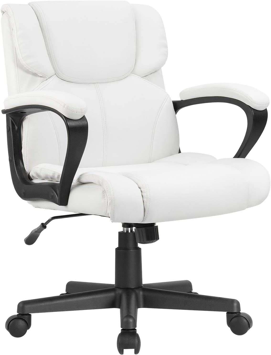 Furmax Mid Back Executive Office Chair Leather-Padded Desk Computer Chair with Armrests,Ergonomic Swivel Task Chair with Lumbar Support (White)