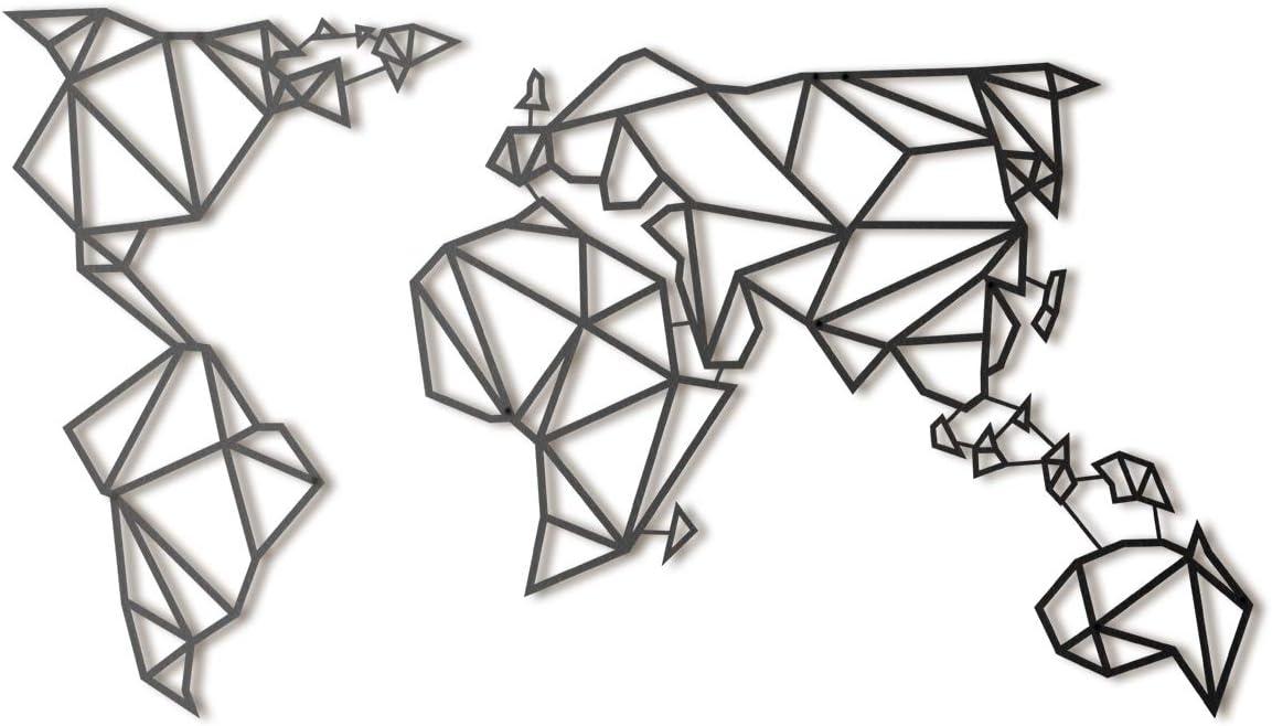 Hoagard Metal World Map Black XL | Hoagard Metal Mapa Del Mundo Negro XL | 80 x 140 | Arte Geométrico De Pared De Metal Y Decoración de pared | Regalo de Navidad