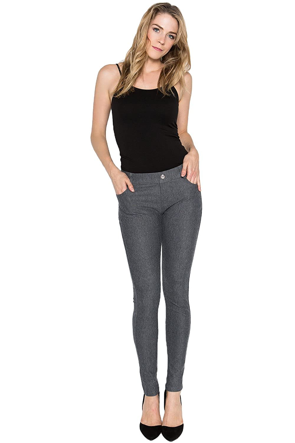 Grey Trinity Jeans Women's Pull On Solid Fashion Skinny Jeggings Pants (Regular & Plus)