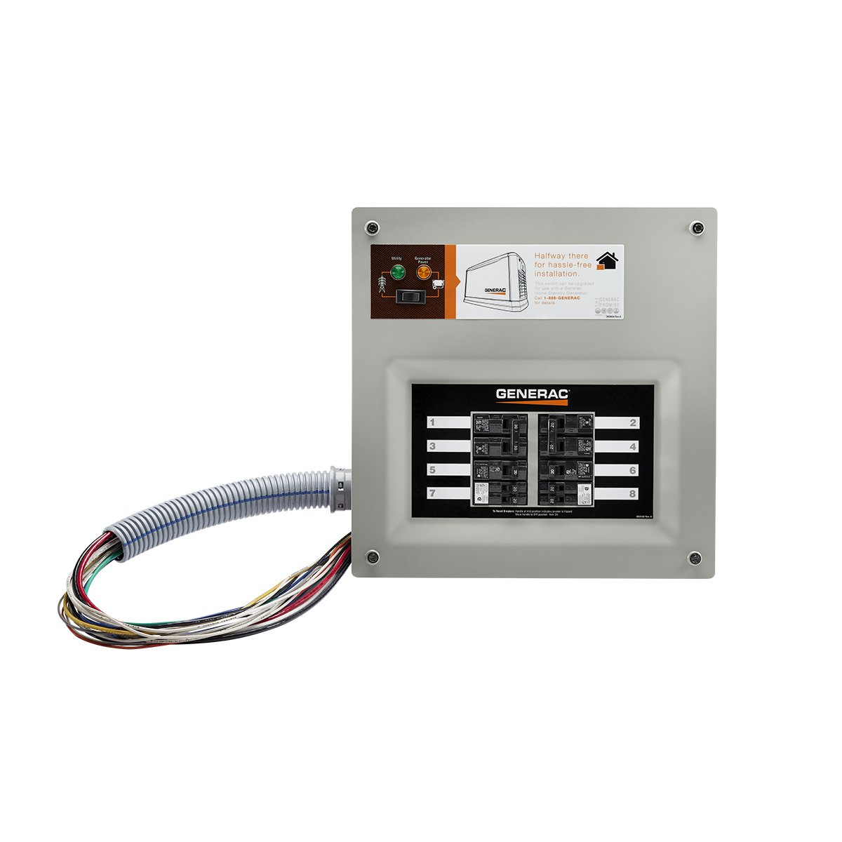 Generac 9854 HomeLink 50-Amp Indoor Pre-wired Upgradeable Manual Transfer Switch for 10-16 circuits by Generac