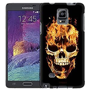 For Case Samsung Galaxy S5 Cover , Slim Fit Snap On Cover by aADcAlxS9ez Trek Yellow Flaming Skull on Black Trans