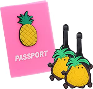 Kids Silicone Passport Holder & Luggage Tag Set Food Themed Travel Gifts - Pineapple