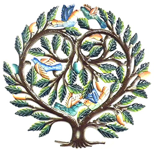 Painted Tree of Life Metal Wall Art featuring a Heart Design