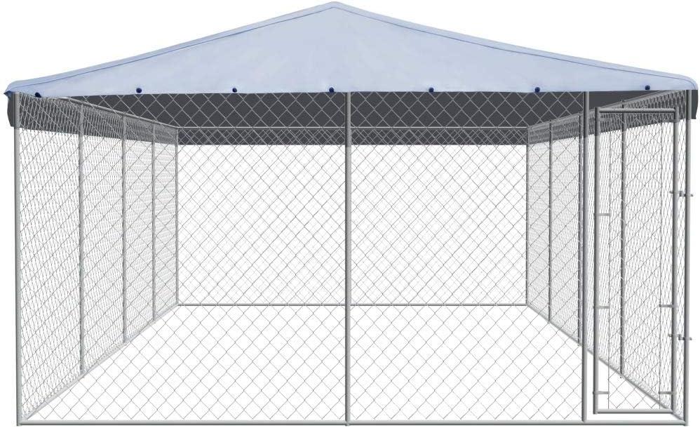 Festnight Perrera de Exteriores con Techo de Acero galvanizado toldo 8x4 m: Amazon.es: Hogar
