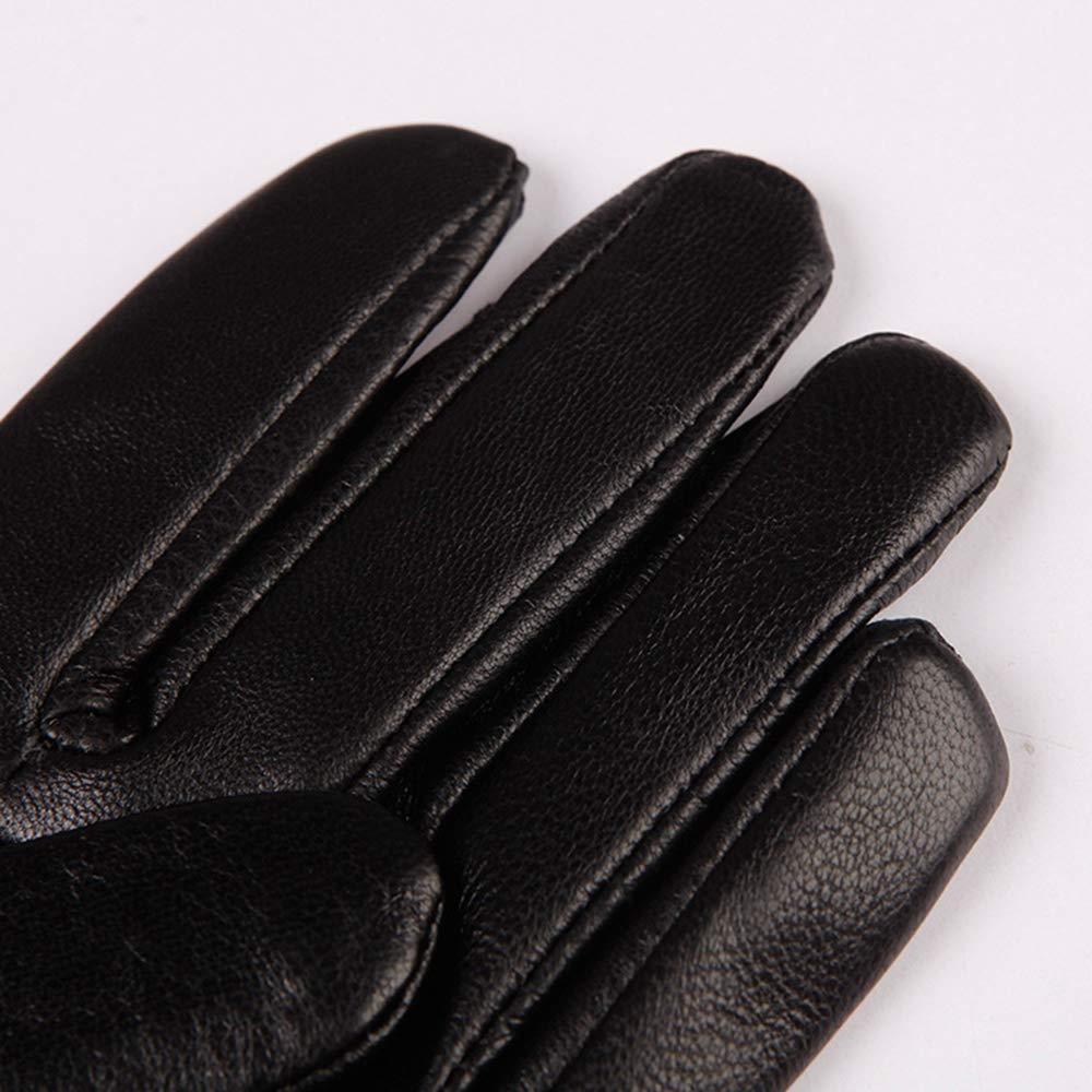 Ogquaton Guantes de piel de oveja Botones de costura de invierno C/álidos guantes a prueba de viento para ciclismo Montar en moto Negro 1 par