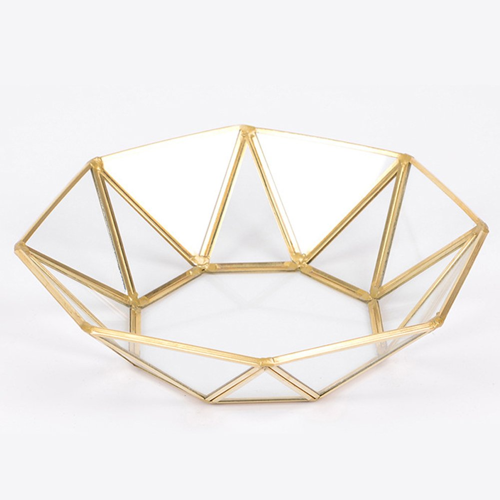 Weelmusic Glass Storage Tray Golden Tray Vintage Copper Tea Tray Simple Jewelry Cosmetics Decoration (Octagonal disk)