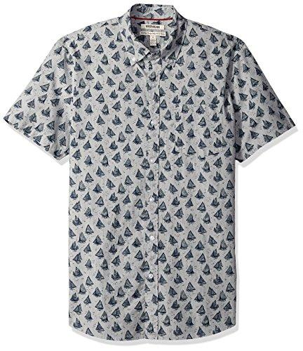 Goodthreads Men's Standard-Fit Short-Sleeve Printed Poplin Shirt, Boats, Large