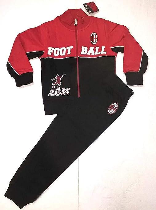 078ec8df9457af Milan Completo Felpa + Pantaloni Tuta AC Bimbo Bambino Prodotto Ufficiale  (Rosso) (6