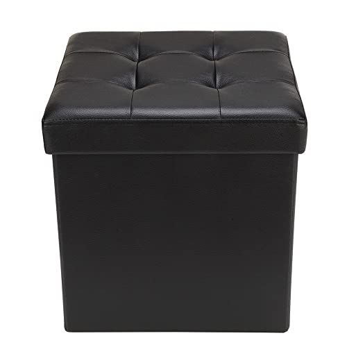Homegear 15 Folding Faux Leather Storage Ottoman Footstool Bench Black