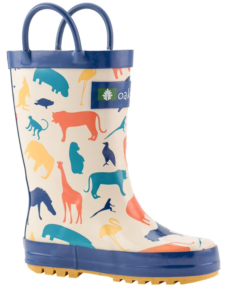 Oakiwear Kids Rubber Rain Boots with Easy-On Handles, Animal Kingdom, 10T US Toddler