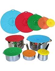 Tapa de silicona Ventosa Muticolor alimentos cubiertas set de 5pieces para cuencos, ollas. sartenes