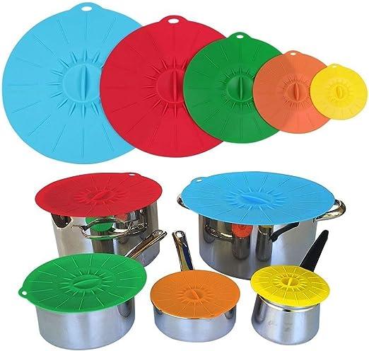 Tapa de silicona Ventosa Muticolor alimentos cubiertas set de ...